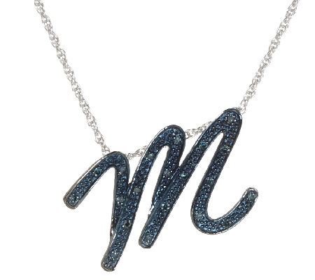 Script Initial Diamond Pendant Sterling, 1/10 cttw, by Affinity