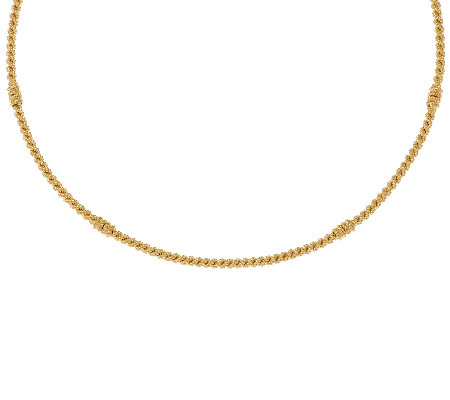 "Judith Ripka Sterling & 14K Clad 18"" Textured Collar Necklace"