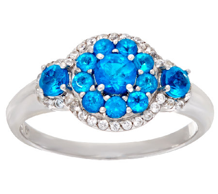 Neon Blue Apatite & White Zircon Sterling Ring 0.45 ct tw
