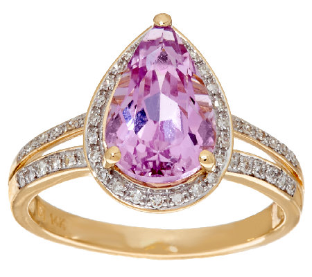 Pear Shaped Kunzite and Diamond Ring 14K Gold 3.00 cts