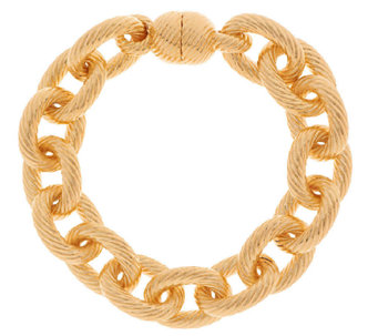 """As Is"" Oro Nuovo 7-1/4"" Status Ribbed Oval Rolo Link Bracelet, 14K - J323472"
