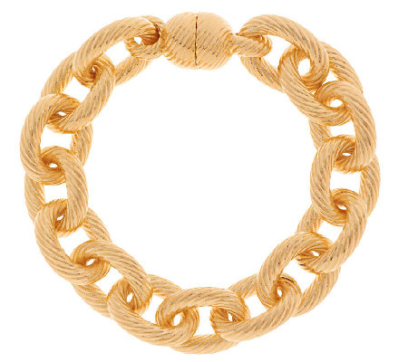 """As Is"" Oro Nuovo 7-1/4"" Status Ribbed Oval Rolo Link Bracelet, 14K"