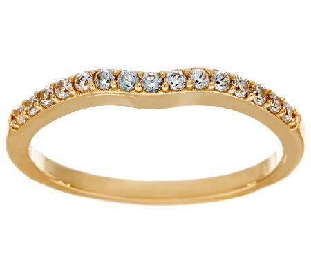 Diamonique Contoured Band, 14K Gold