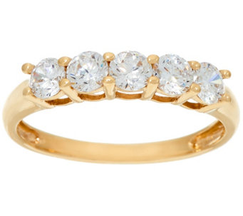 Diamonique 5-Stone Band Ring, 14K Gold - J326072