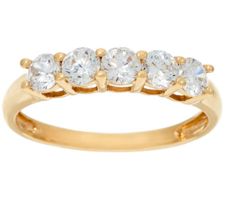 Diamonique 5 Stone Band Ring 14K Gold Page 1 — QVC