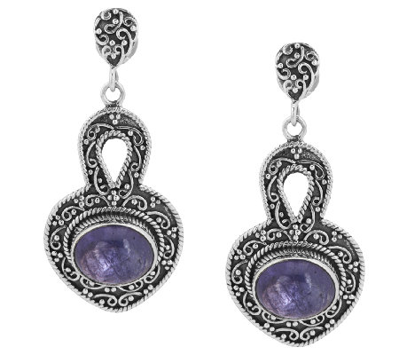 """As Is"" Artisan CraftedSterling Tanzanite Cabochon Drop Earrings"