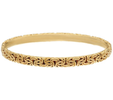 14K Gold Large Byzantine Round Slip-on Bangle Bracelet, 11.6g