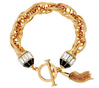 C. Wonder Triple Rolo Link Bracelet with Crystal Toggle Station - J328872