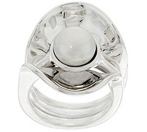 Hagit Sterling Silver Cultured Pearl Ring and Ring Guard - J330172
