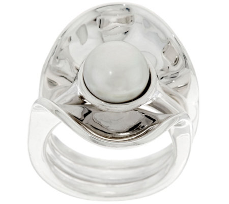 Hagit Sterling Silver Cultured Pearl Ring and Ring Guard