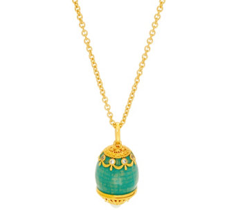The Elizabeth Taylor Simulated Faberge Egg Pendant & Chain - J330272