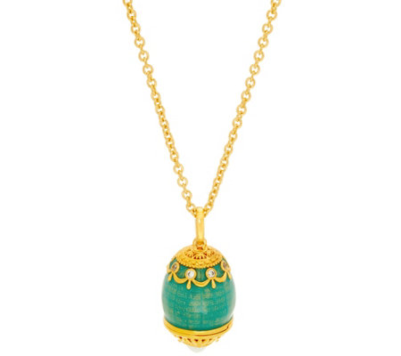 The Elizabeth Taylor Simulated Faberge Egg Pendant & Chain