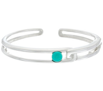 Franco P Sterling Duality Turquoise Cuff Bracelet - J330372