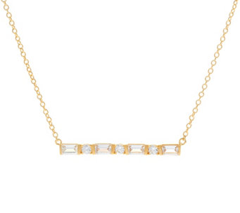 Diamonique Mixed Cut Bar Necklace, Sterling or 18K Plated - J330572