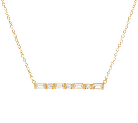 Diamonique Mixed Cut Bar Necklace, Sterling or 18K Plated