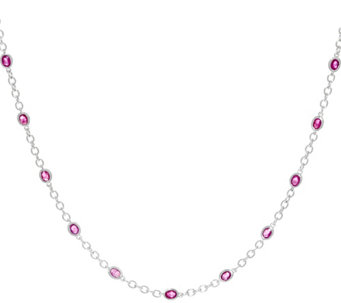 "Precious Gemstone Sterling Silver 18"" Station Necklace - J330872"