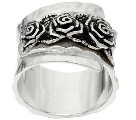 Sterling Silver Triple Rose Band Ring by Or Paz