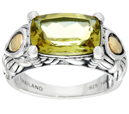 JAI Sterling & 14K Cushion Cut Green Gold Quartz Ring