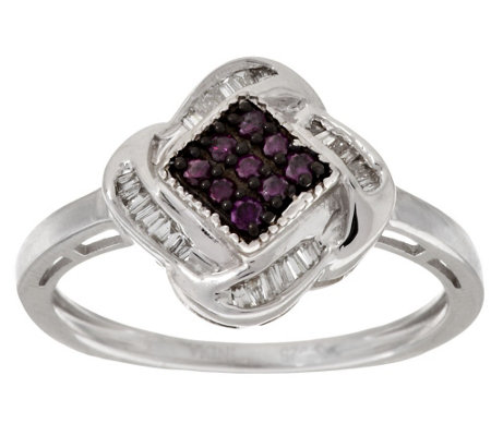 """As Is"" Purple Swirl Diamond Ring Sterling, 1/5 cttw by Affinity"