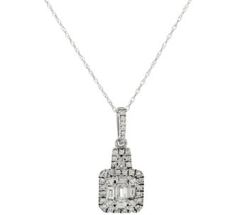 Emerald Cut & Round Diamond Pendant w/Chain 14K, 6/10 cttw, by Affinity - J333672