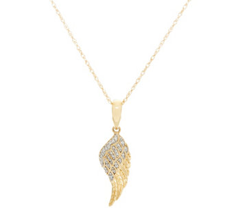 """As Is"" Angel Wing Diamond Pendant w/Chain 14k, 1/10 cttw by Affinity - J334672"