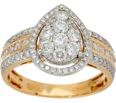 1.00 cttw Pear Cluster Diamond Ring 14K Gold, by Affinity