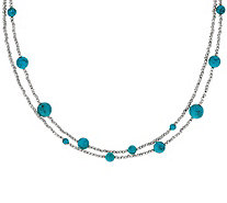 "Italian 36"" Turquoise Diamond Cut Bead Sterling Necklace - J347772"
