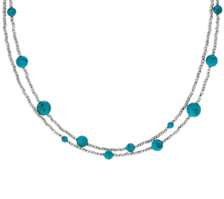 "Italian 36"" Turquoise Diamond Cut Bead Sterling Necklace"