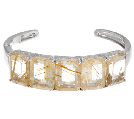 """As Is"" Emerald Cut 5-Stone Rutilated Quartz Sterling Hinged Cuff"
