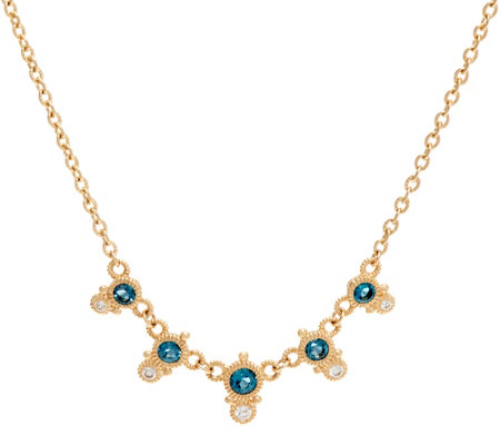 Judith Ripka 14K Gold London Blue Topaz & Diamond Necklace