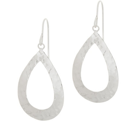 Sterling Hammered Open Teardrop Dangle Earrings by SilverStyle
