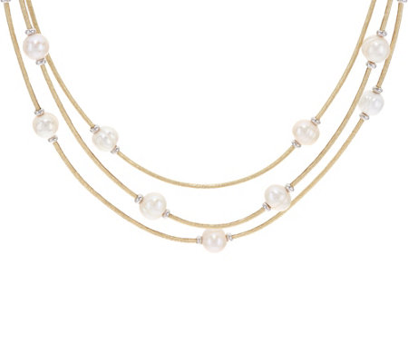 """As Is"" Honora Cultured Pearl Multi-Strand Faux Leather Necklace"