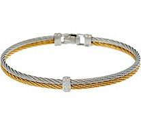 ALOR Stainless Steel and Diamond Two-Row Bracelet - J352272