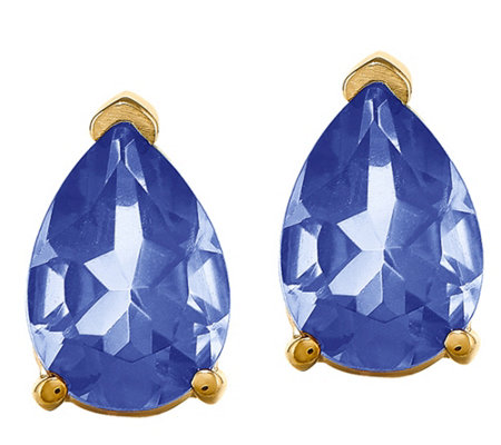 14K Yellow Gold Pear-Shaped Gemstone Stud Earrings