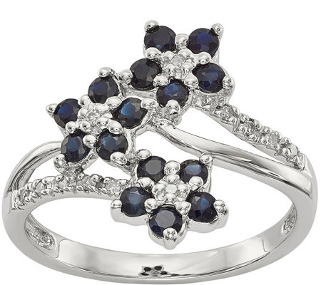 Sterling Flower Gemstone and Diamond Ring