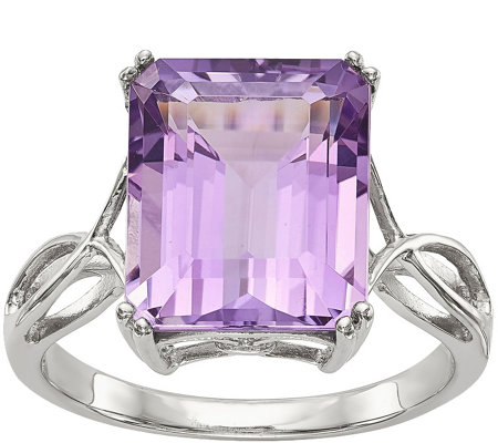 Sterling Octagon Shaped Gemstone Ring