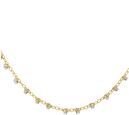 14K Gold Two-Tone Beaded Necklace