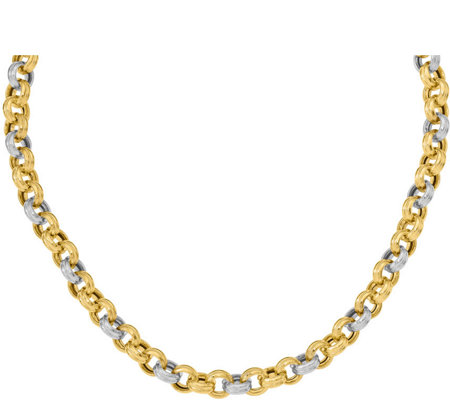 14K Two-tone Ribbed Rolo Link Necklace, 34.3g
