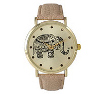 Olivia Pratt Women's Tribal Elephant Leather Watch - J380472