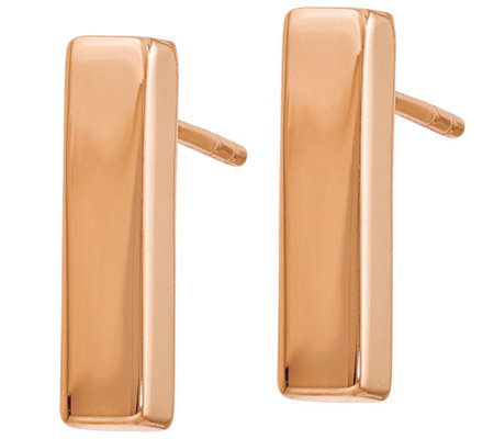 14K Gold Polished Bar Post Earrings