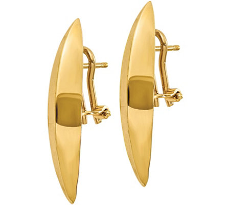 Italian Gold Polished Omega Back Earrings, 14K