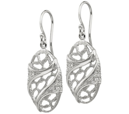 Sterling Silver Textured Oval Dangle Earrings