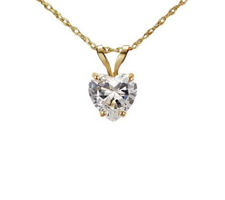 Diamonique 1.00 ct Heart Solitaire Pendant w/Ch ain, 14K Gold