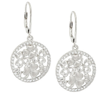 Fado Sterling Silver Shamrock Earrings - J274273