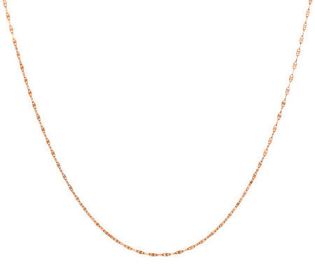 "VicenzaGold 20"" Adjustable Sparkle Chain Necklace 14K Gold"