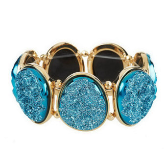 """As Is"" Joan Rivers Simulated Drusy Oval Stretch Bracelet - J277073"