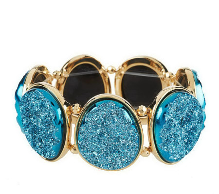"""As Is"" Joan Rivers Simulated Drusy Oval Stretch Bracelet"