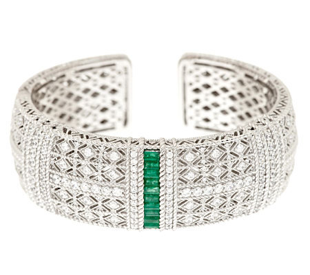 Judith Ripka Sterling 1.0 ct Emerald & Diamonique Pia Estate Cuff