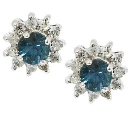 0.20 ct tw Montana Sapphire & Diamond Stud Earrings, 14K
