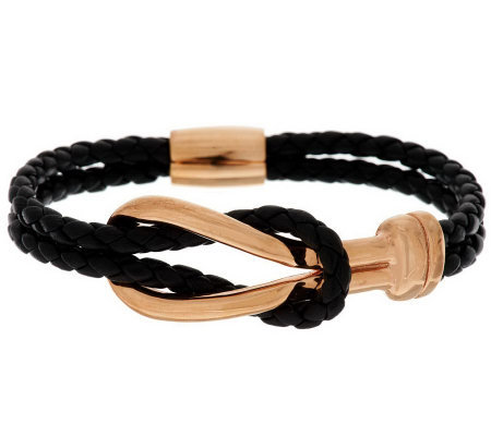 VicenzaSilver Sterling Status Link Station Braided Leather Bracelet